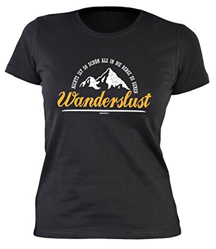 Damen-Shirt/Kletter/Wander/Bergsteiger/Girlie-Shirt: Nichts ist so schön als in die Berge zu gehen Wanderslust Schwarz