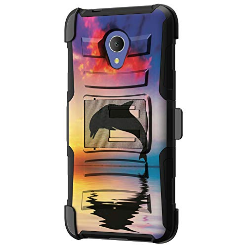 TurtleArmor - Kompatibel mit Alcatel 1X Evolve Hülle, IdealXtra Case, TCL LX Case [Hyperschock] Hybrid-verstärkt, doppellagig, Gürtelclip, Ständer Sea Ocean -, Dolphin Jump (Cell Android Cricket Phones)