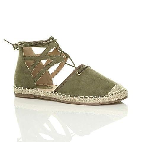 Womens ladies flat lace up ghillie cut out espadrilles shoes sandals size 6 39