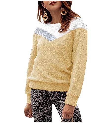 CuteRose Womens Fall Winter Slimming Pullover Fuzzy Sweatshirt Sweater Apricot S -