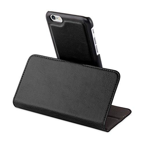 Apple iPhone 6 / 6S Hülle in SCHWARZ von Cadorabo - Handy-Hülle im 2-in-1 Design mit mit herausnehmbarem Hard Cover , unsichtbarem Magnet-Verschluss , Standfunktion und Karten-Fach für Case Schutz-hül KOHLEN-SCHWARZ