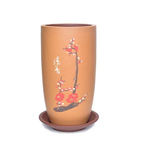 BOBE Shop 20CM runder keramischer Blumen-Topf mit Behälter-chinesischen Art Innengrünpflanzenbehälter im Freien (Farbe : Orange) -