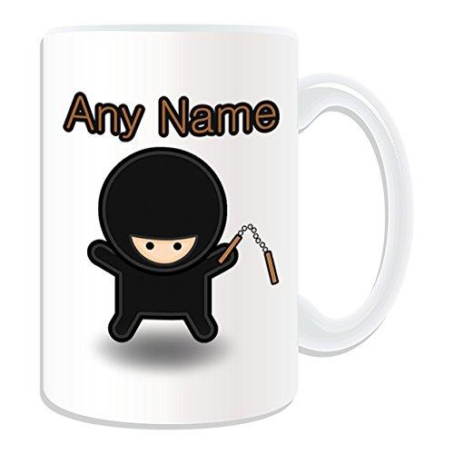 chenk–großen Ninja mit Nunchaku Tasse (Märchen Design Thema, weiß)–alle Nachricht/Name auf Ihre einzigartige Tasse–Nunchucks chainsticks (Ninja Mit Nunchucks)