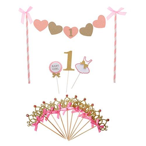 MagiDeal 10 Stk Krone Kuchendeckel Tortendeko, 1 Stück Kuchen Topper Banner, Cupcake Picks Set für 1. Geburtstag Party (Geburtstag Kuchen-topper Banner)