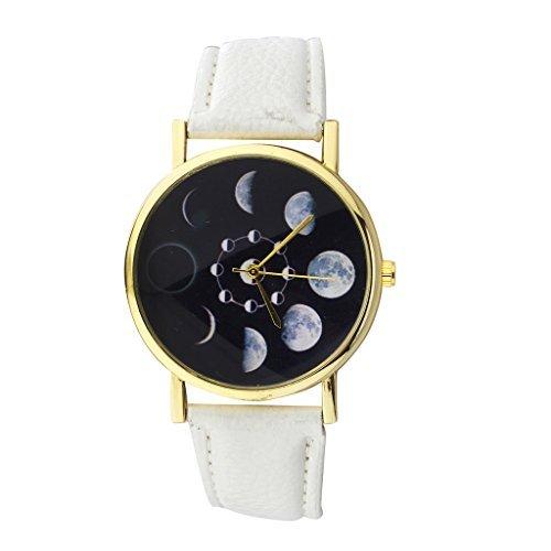 LUX-Zubehr-Phases-of-the-Moon-Uhr-Gesicht-und-weiem-PU-Leder-Band-Armbanduhr