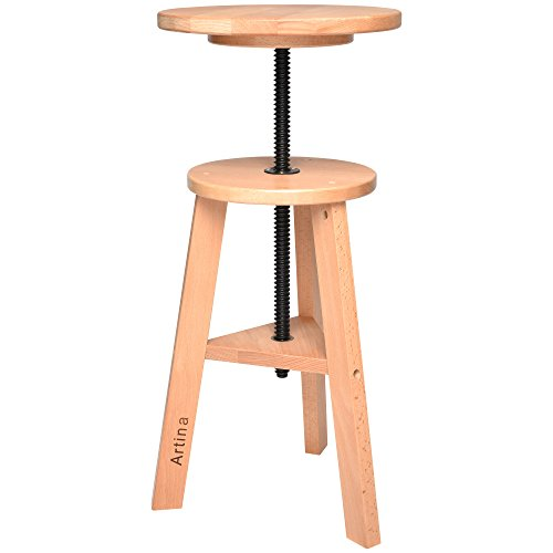 Artina Solid Wood Stool Arles Rotating Artist Swivel Chair Height Adjustable from 42cm to 60cm Painting Stool Taboret Round