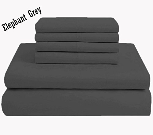 Solide Ägyptischer Baumwolle Blatt (Zorificraft Bettlaken-Set, 100% ägyptische Baumwolle, Fadenzahl 600, Weiß, 30,5 cm Tiefe Tasche, 4-teilig Queen grau)