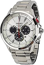 Seiko Solar Men's White Dial Stainless Steel Band Watch - SSC4