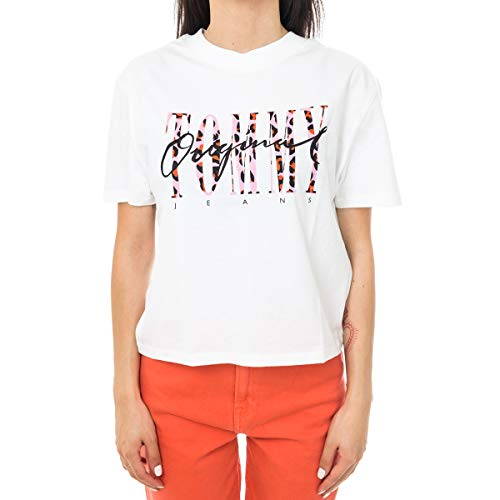 a69fc687b46 Tommy Jeans Mujer Leopard Print Detail Tee Camiseta Blanco (Classic White  100) X-