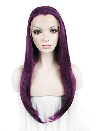Imstyle Dentelle Perruque longue lisse soyeux Perruque lace front synthétique résistant à la chaleur en dentelle Perruque pour cosplay