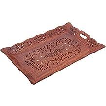 Regalo de la acción de gracias para sus seres queridos Bandeja de madera con incrustaciones de latón Diseño de Lotus 15x10 pulgadas de trabajo, bandeja de madera decorativa, bandeja decorativa, bandeja de servir hermosa