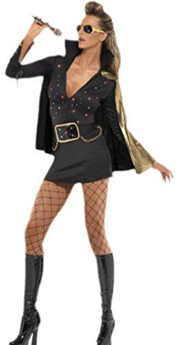 Las Vegas Viva Damen Kostüm (Confettery - Damen Elvis Glamour Viva Las Vegas Kostüm, S,)