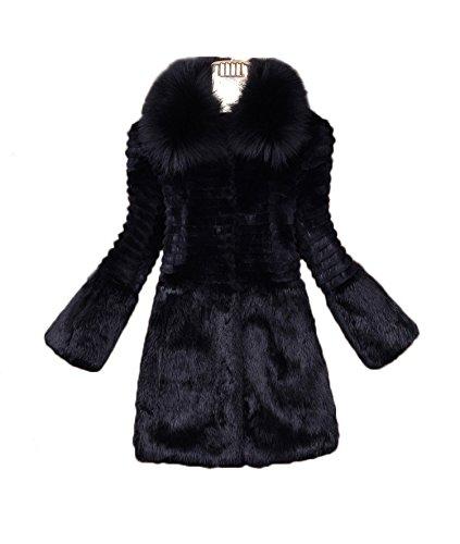 Saoirse Fashion Damen 100% Reales Kaninchen-Pelz-Mantel Kragen Winter (Kaninchen Damen Mantel Pelz Jacke)