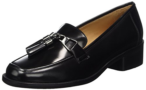 Marc O'Polo Damen Mid Heel Loafer 70714142202111 Slipper, Schwarz (Black), 40 EU (Mokassin Loafer Schuhe)