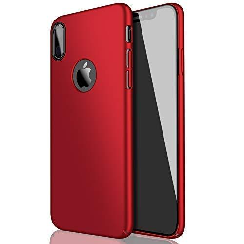 Fall für iPhone X, eartonx Slim Fit Hartschale Kunststoff PC dünn Handy-Cover Fall kompatibel mit iPhone X (14,7cm) (2017), rot