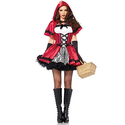 YCWY Costume Cosplay delle Donne, Cappuccetto Rosso Sexy Vestito Rosso, Festa di Carnevale di Halloween, Costume Festa in Costume,M
