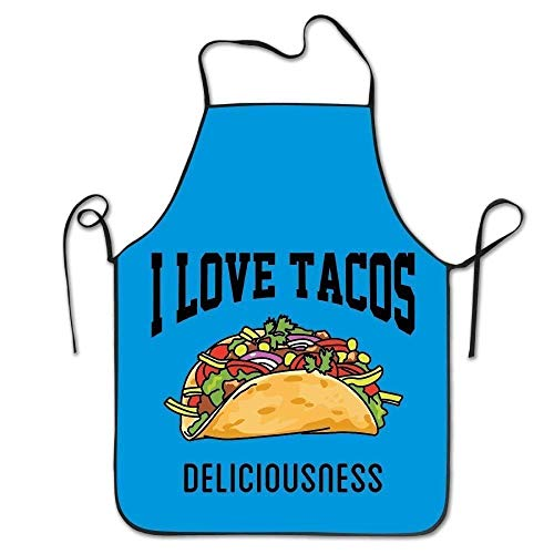 Kostüm Of Love Edge - HTETRERW I Love Tacos Mexican Food Lock Edge Blue Unisex Adult Teen Kids Durable Cooking Baking Kitchen Restaurant Chef Apron Pinafore