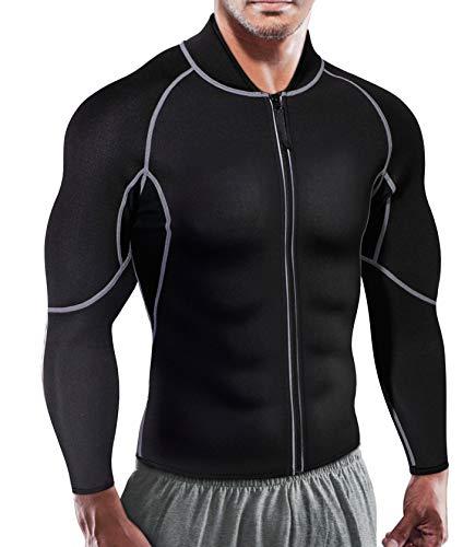 Herren Hot Sweat Neopren Lange Ärmel Tank Top Sauna Anzug Sport Männer Shirt Body Shaper Gym Shapewear (XL(Fit 100-105 cm Waist), Black)