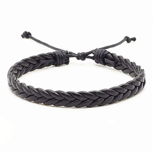 für männer Handgemachte Schwarz Braun Weben Pu Leder Homme Weiblich Frauen Armband Männer Männlich Schmuck Zubehör Mode Trendy ()