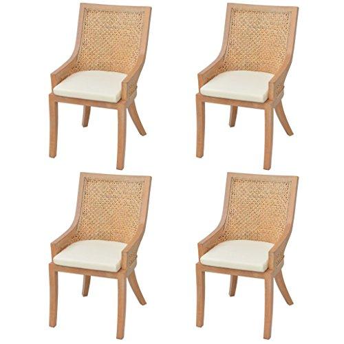 Festnight 4er-Set Rattan Esszimmerstühle Rattanstuhl Stühle Essstuhl Küchenstühle Stuhl-Set 64 x 53 x 103 cm Tragfähigkeit bis zu 120 kg