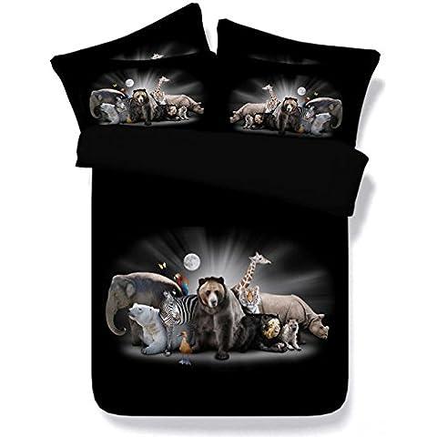 JF-033 de lujo en tela negra con animales de zoológico oso Elefante Cebra conjuntos de ropa de cama en 3D