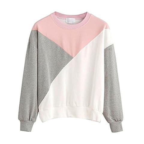 Keepwin Women Color Block Sweatshirt Crew Neck Patchwork Casual Sport Pullover Tops (L, Pink)