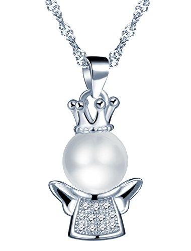 Unendlich U 925 Sterling Silber Zirkonia Perlen Engel Flügel-Anhänger Halskette für Damen/Mädchen