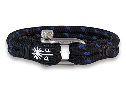 Palm & Fins Double Six Herren-Armband Schwarz/Blau (19, Silber)