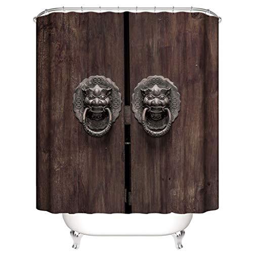 Duschvorhang 100% Polyester 3D Druck Wasserdicht Badezimmer (alte Tür 180 cm * 200 cm)