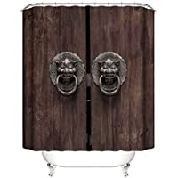 Cortina de la ducha XINGUANG 100% Poliéster Impresión 3D Impermeable De Baño (Puerta Antigua 180cm * 200cm) Cortina
