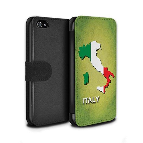 STUFF4 PU-Leder Hülle/Case/Tasche/Cover für Apple iPhone 8 Plus / Italien/Italienisch Muster / Flagge Land Kollektion Italien/Italienisch