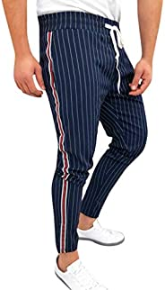 Mens Striped Patchwork Drawstring Joggers Casual Sweatpants Trouser Long Pants