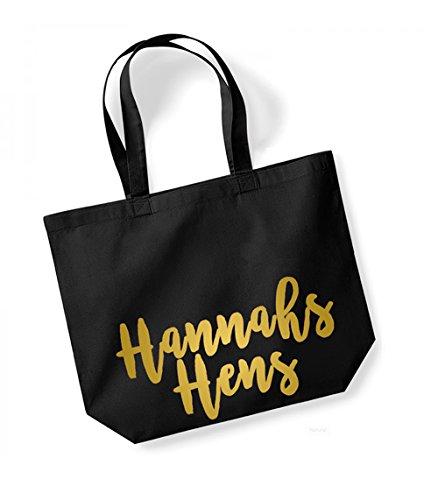 Personalised Name Hens - Large Canvas Fun Slogan Tote Bag Black/Gold
