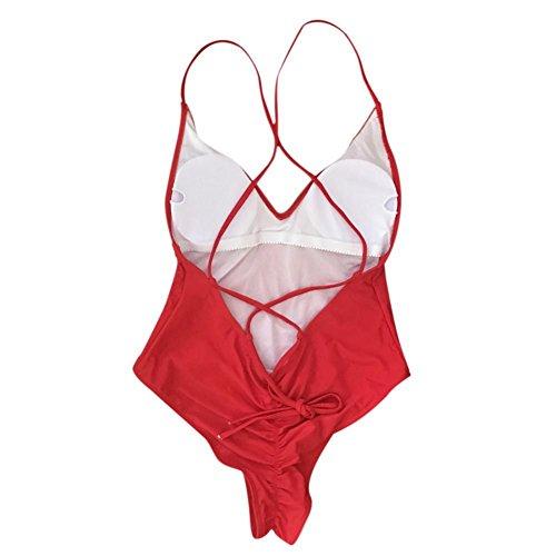 KAYI Perizoma Monokini Costume da bagno Taglio alto Sling Bandage Backless per le donne Tinta unita Beachwear One Piece Rosso