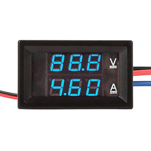 Balai DC Ammeter Voltmeter 0-100V 14A Red Blue LED Ampere Voltage Panel for Car/Motor (Motor 5a)