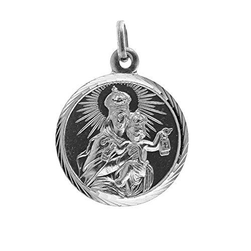 SACRE COEUR - Medalla de Vírgen del Carmen | Plata Primera Ley | Patrona de la Armada Española y los Carmelitas | Acabado con Bisel Estriado