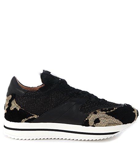 Sneakers Twin-Set damascata in cavallino e tessuto nero e oro Nero