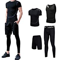 4Pcs Men's Sportswear Quick Dry Fitness Workout Suits with Compression Shirt Leggings Black L