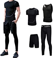 4Pcs Men's Sportswear Quick Dry Fitness Workout Suits with Compression Shirt Leggings B
