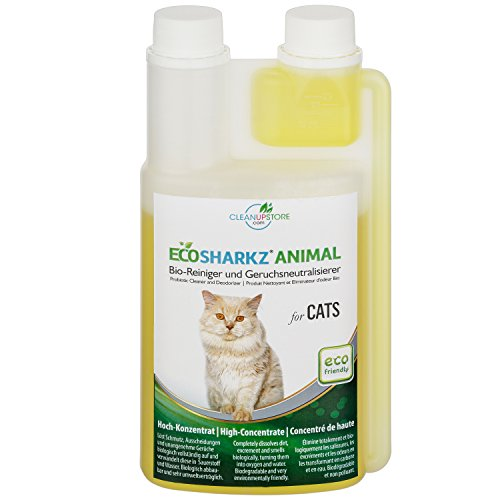 Ecosharkz Best Cat Urine Remover - Cleans Litter Tray ANIMAL CATS Probiotic Cleaner Deodorizer Cats (500ml Concentrate yields 25 Litres Ready to Use)
