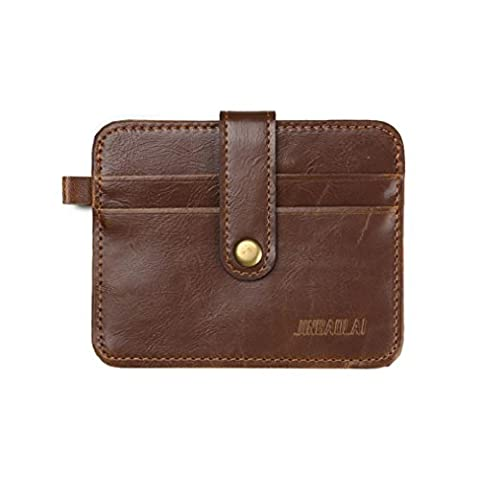 Hommes portefeuille, FEITONG Embrayage Billfold ID Wallet Credit Luxe Rétro Mens cuir carte Purse Slim (Marron)