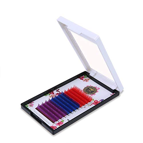 KOBWA Pestañas de colores arcoíris – 12 filas/bandeja 3 colores, extensiones de pestañas coloridas, pestañas postizas rizadas