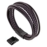 Moneekar Jewels Brown Leather Bracelet with Double Magnetic Clasp for Men