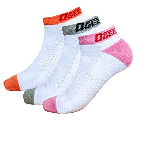 Ogeenier 3 Paar Damen Sportsocken Gepolsterte Sportliche Socken Laufsocken Atmungsaktive Anti-Geruch Baumwolle Unisex Sport Socken Short, 3 Farben (Anti Socken Geruch)