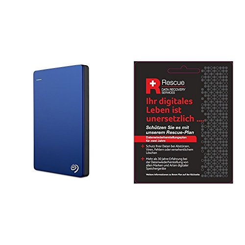Seagate STDR1000202 Externe tragbare Festplatte (inkl. Backup-Software, USB 3,0, PC, MAC und PS4 + STZZ794 Produktkarte mit Code zur Registrierung), Backup Plus Slim 1 TB, blau