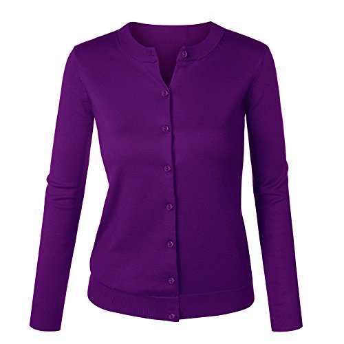 Damen Langarm O-Ausschnitt Botton Taste Strickjacke Cardigan Top XXX-Large Violett (Lila Strickjacke)