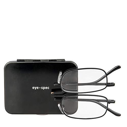 Kompakte Falt-Lesebrille für Männer mit einem Rahmen von hoher Qualität und einem flachen schwarzen Hartschalen-Etui (1.00, 1.50, 2.00, 2.50, 3.00) | eye-sight von eye-spec
