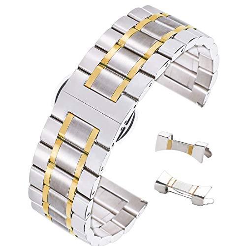 20 millimetri braccialetto cinturino in resistente acciaio inox con distribuzione rilascio facile fibbia due toni silver & gold