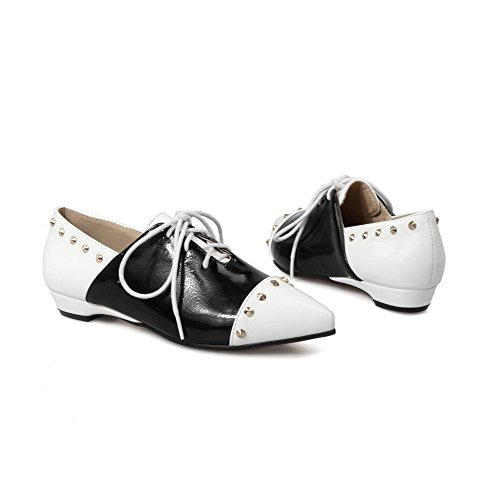 VogueZone009 Femme Matière Souple Lacet Pointu à Talon Bas Mosaïque Chaussures Légeres Blanc