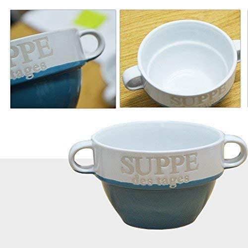 DRULINE 12 Stück Suppentasse aus Keramik mit Schriftzug Suppe des Tages Ø 13 cm Weiß